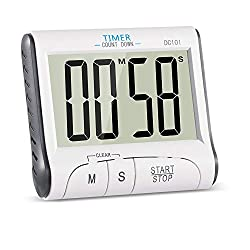 Big Display Sport Timer Digital Kitchen Cooking Timer with Magnet Large Stopwatch Countdown Up Timer Loud Alarm (Battery Included)