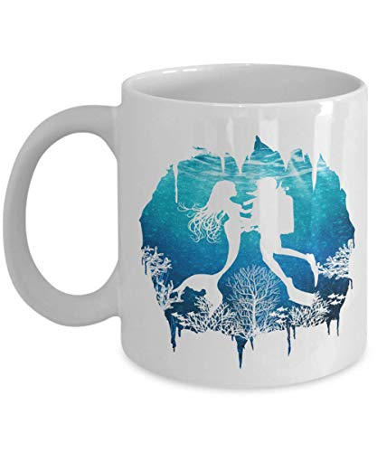 Under The Sea Silhouette Of A Scuba Diver Falling In Love With A Mermaid Romantic Graphic Novelty Coffee & Tea Gift Mug Cup For A Dive Instructor, Free-diver, Master Divers & Men Diving Enthusiasts