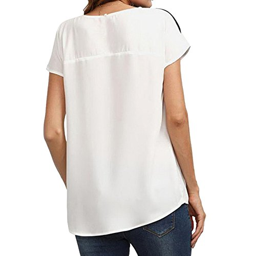 Col Colores Shirt Casual Beige Youthny Rond t Courte Femme Rayures Manche YOdxqzA