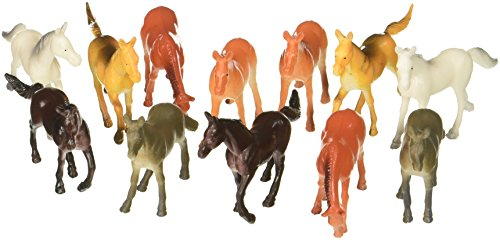Fun Express Vinyl Plastic Horses Toy - 12 Pieces