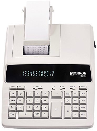 New Monroe Systems for Business 6120X 12-Digit Print/Display Medium-Duty Calculator With Optional Supplies and Foam Elevation Wedge (Calculator, Ivory)