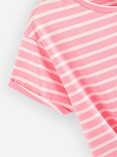 343bfc0b42e Romwe Women's Knot Front Cuffed Sleeve Striped Crop Top Tee T-Shirt Pink S