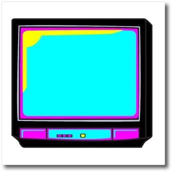 3dRose ht _ 102405 _ 3 CMYK Retro Tv televisor Vector cartoon-iron sobre transferencia de calor para Material blanco, 10 por 25,4 cm: Amazon.es: Hogar