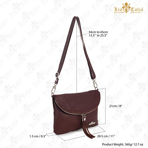 Taupe Real Bag Cross Leather Shoulder AMY Size Soft Small Medium Body LIATALIA Italian Messenger Deep 6f8SHWAH