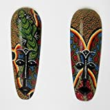 Dot Painted Aboriginal Style Mask, Hand Painted Wood 30cm tall wall hanging