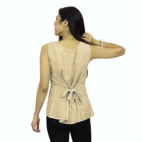 Las mujeres de Boho del verano Top blusa sin mangas de la túnica Vestido de tirantes Ocasional Beige