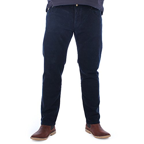 LOIS Mens Sierra Dark Navy Needle Corduroy Trousers W38 L32
