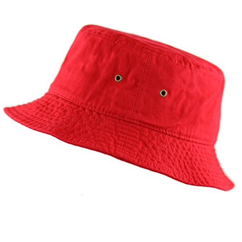 The Hat Depot 300N Unisex 100% Cotton Packable Summer Travel Bucket Hat (L/XL, Red) -