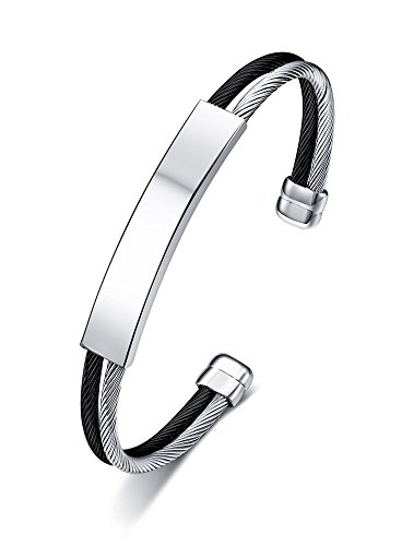 - PJ Jewelry Two-tone Women's Stainless Steel Plain Tag Charm Double Cable Wire Twisted Cuff Bracelet