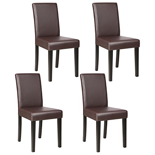 Mecor Dining Chairs Set of 4,Kitchen Leather Chair with Solid Wood Legs Leather Padded Dining Room Furniture Brown
