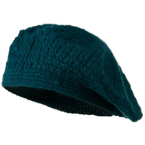 Mohair and Acrylic Knit Beret - Teal OSFM
