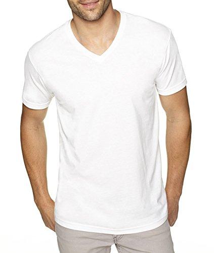 Next Level Men's Premium Sueded Short Sleeve V-Neck T-Shirt, L, WHITE