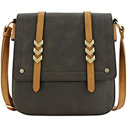 Double Compartment Large Flapover Crossbody Bag with Colorblock Straps Charcoal Grey/Light Tan