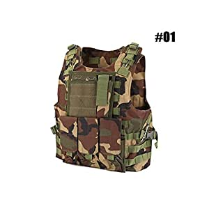 Tactical Vest Adjustable Combat Vest, MOLLE Plate Carrier Vest Sports Clothing with Removable Pouches for Hunting Airsoft Paintball CS, Outdoor Protective Vest Chest Protector (#01 - Forest Camouflage)