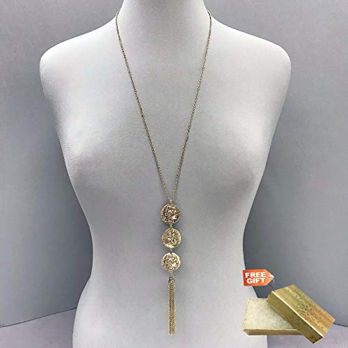- Long Gold Finish Dainty Chain Gold Triple Coin Metal Pendant tassel Necklace Set For Women + Gold Cotton Filled Gift Box for Free
