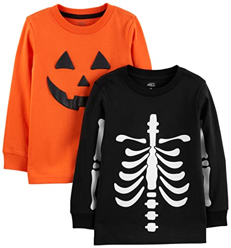 (Simple Joys by Carter's Boys' Toddler 2-Pack Halloween Long-Sleeve Tees, Pumpkin/Skeleton,)