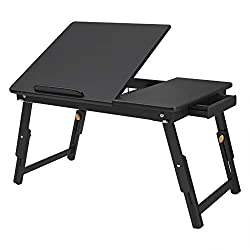 Songmics Multi Function Lapdesk Table, Foldable Bed Tray, Adjustable Breakfast Table, With Tilting Top, Storage Drawer, Bamboo Wood, Black Ulld01bk