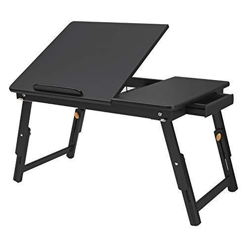 (SONGMICS Multi-Function Lapdesk Table, Foldable Bed Tray, Adjustable Breakfast Table, with Tilting Top, Storage Drawer, Bamboo Wood, Black ULLD01BK)