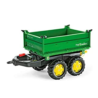 ROLLY TOYS | rollyMega Trailer John Deere | Giant Three Site Tipping Trailer for Pedal Tractor | 122004