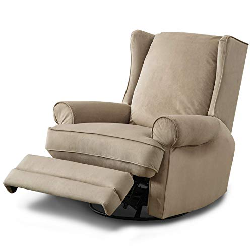 BONZY Swivel Glider Recliner Chair Nursery Elderly Sofa Overstuffed Oversized XL Relax Rest Stressless Baby and Mother Swing Deluxe Modern Wingback Comfy Armrest - Mocha