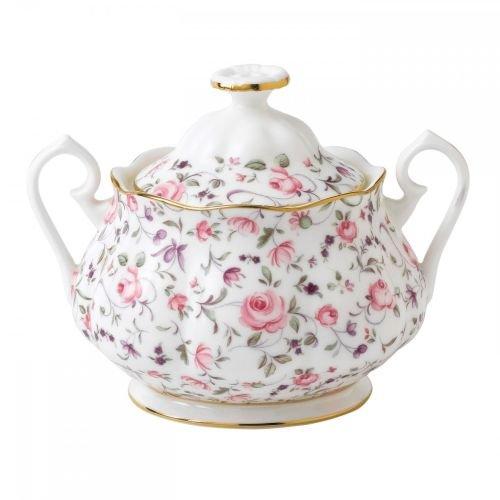 Royal Albert Rose Confetti Formal Vintage Covered Sugar Bowl, White