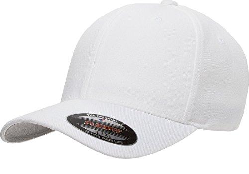(Flexfit 6477 Wool Blend Cap - Large/X-Large (White))