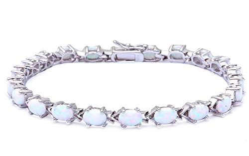 Opal Oval Bracelets (Oval Cut Lab Created White Opal .925 Sterling Silver Bracelet 7.5