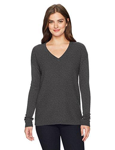 Lark & Ro Women's 100% Cashmere 12 Gauge Textured Front Deep V-Neck Pullover, Dark Grey, Extra Small