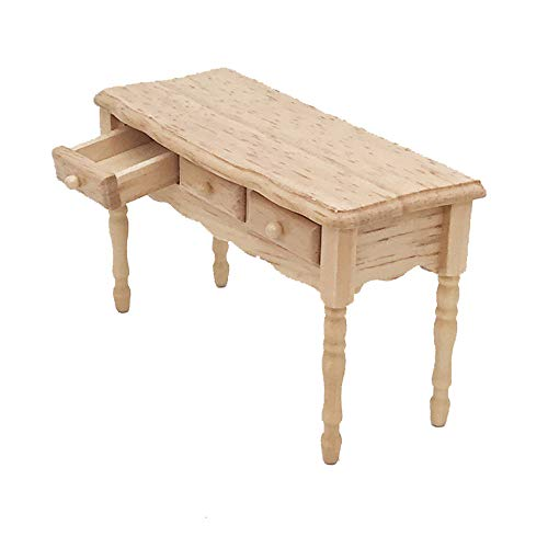 Maikouhai Mini Table with 3 Small Drawers, Wood Grain for sale  Delivered anywhere in USA