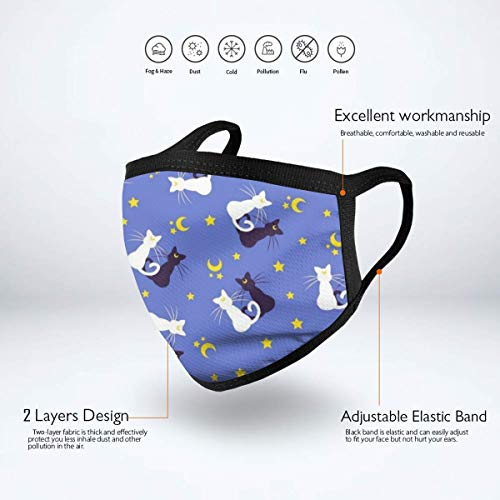 NiYoung Fashion Face Masks Earloop Hypoallergenic Half Face Mouth Mask for Pollen Smog Medical Cleaning, Women Men Kids - Healthy (Black and White Cat Moon Star Mouth Mask)
