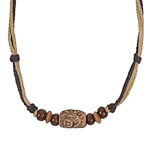 FORBUSITE Men Pendant Bead Surfer Choker Hemp Necklace Stylish Tribal N122 Handmade (N120-Khaki with Brown)