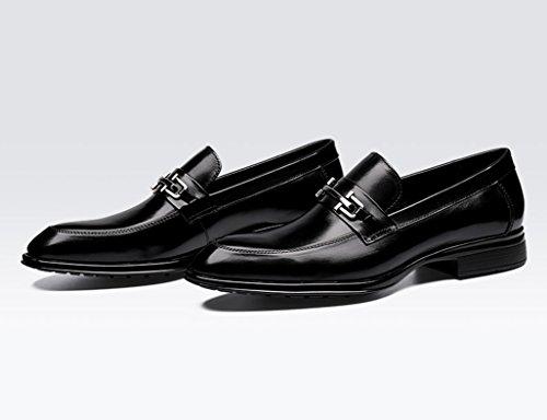 Hombre de Traje únicos Tamaño Color Vestir de Boda los de de Clásicos Piel del Zapatos Negro Zapatos el 41 de EU Británico para la Zapatos Hombres Estilo Negocios UK7 Negro Señalaron Los 6zwnI
