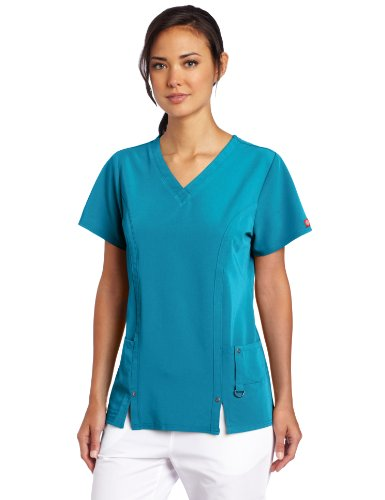 Dickies Women's Xtreme Stretch V-Neck Scrubs Shirt, Teal, Small ()