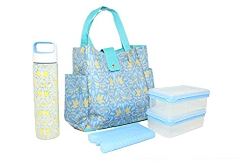 Silver One Durable & Reusable Premium Insulated Heavy Duty Tote Lunch Bag Set for Pinic/Beach |Includes 2 Food Storage Containers, 1 Ice Pack, 1 Plastic Water Bottle | Button Snap Closure By Eco - Eco Large Tote Bag