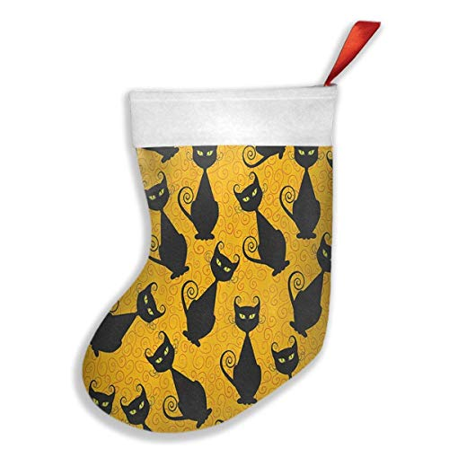 Black Cat for Halloween Christmas Holiday Stockings for