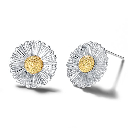 Carleen 14k White Gold Plated 925 Sterling Silver Dainty Statement Daisy Sun Flower Earrings Delicate Fine Jewelry Stud Earrings for Women - Daisy Sterling Flower Earrings Silver