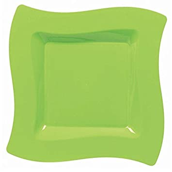 Lime Green Wavy Square Plastic Dinner Plates & Amazon.com: Lime Green Wavy Square Plastic Dinner Plates: Health ...