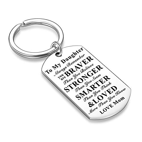 Inspirational Keychains for Daughter Son Gifts Dog Tag Keychain Belive Confident Gifts for Son Daughter from Mom Dad (Mom to Daughter)