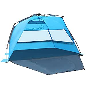 outdoormaster pop up beach tent easy to set up portable beach shade with spf 50. Black Bedroom Furniture Sets. Home Design Ideas