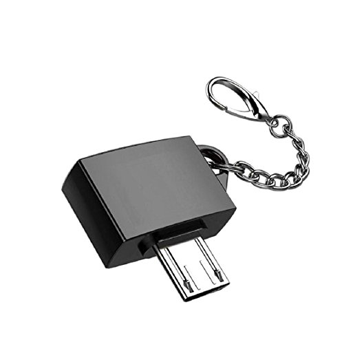 Price comparison product image Mchoice Metal Micro USB Male To USB 2.0 A Female OTG Converter Adapter With Key Chain (Black)