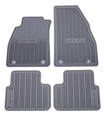 GM # 22907001 Floor Mats - Front and Rear Premium All Weather - Titanium - Malibu Logo on all 4 Mats