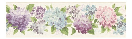 York Wallcoverings KH7062BD  Kitchen and Bath Hydrangea Border, White/Lavender/Aquamarine/Purple/Tan/Green - Lavender Border