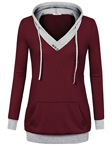 Hoodies,Timeson Women's V-Neck Long Sleeve Hit Color Pullover Hoodie with Kangaroo Pocket Wine Large