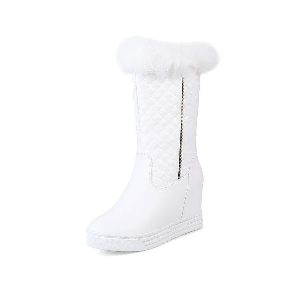 Hy Frauen Stiefel künstliche PU Winter Warm Winddicht Schnee Stiefel Stiefel/Student Mittel-Kalb Stiefel/Damen Winter Stiefel Erhöhen Casual Ski Schuhe (Farbe : Weiß, Größe : 43)