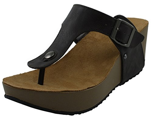 Platform Chocolate Strap Sandal Thong T Select Buckle Womens Studded Wedge Cambridge SwO0fqn