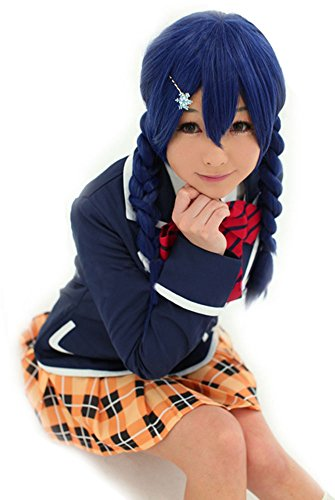 ANOGOL Hair Cap+ Blue Braided Cosplay Wig for Costume Halloween Party -