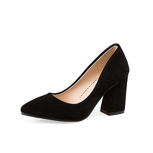 Ladies Fashion Block Heels Women Pumps Pointed Toe Single Shoes Causl Women Court Shoes Black