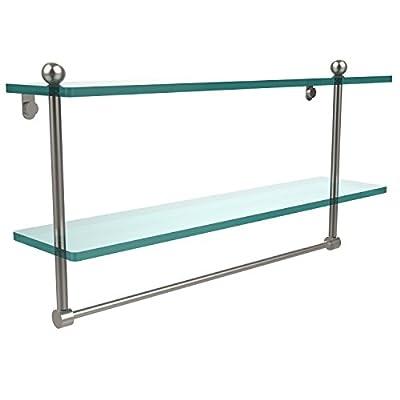 """Allied Brass 22"""" Double Shelf w/Towel Bar Satin Nickel"""