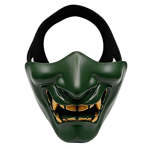 AUOKER Half Face Mask, Prajna Cosplay BB Evil Demon Monster Kabuki Samurai Hannya Oni Half Cover Airsoft and Prop Mask for Hunting Shooting, Costume Party Movie Prop - Green ()