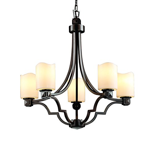 (Justice Design Group CandleAria 5-Light Chandelier - Dark Bronze Finish with Cream Faux Candle Resin Shade)